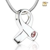 Zilveren ashanger Awareness® met collier en een roze zirkonia