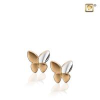 Butterfly® oorknoppen, geelgoud verguld