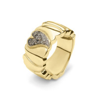 Brede stoere ring gevormd uit harten met open ruimte-RG006