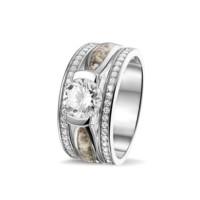 Ring met twee smalle ruimtes en zirkonia's-RG041