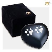 """Mini hart urn, """"Antraciet"""" zilveren poten"""