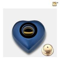 """Mini hart urn, """"Blue"""" zilveren poot"""
