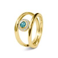 Twee gladde ringen, ronde open ruimte met zirkonia-RG015