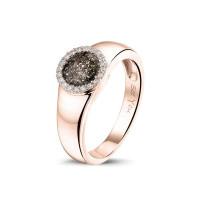 Ring, glad met ronde open ruimte zirkoniarand-RG021