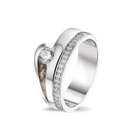 Ring, met accent, driehoekige open ruimte en sider-RG044