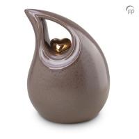 Keramische druppel urn met hart, beige-KU006
