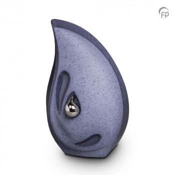 keramische-druppel-urn-groot-zilverkleurige-minidruppel-rechtop-grijs-blauw-mastaba_ku-043_fp-funeral-products_memento-aan-jou