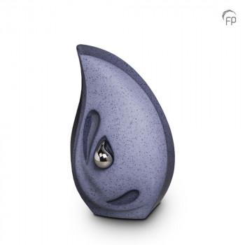 keramische-druppel-urn-middel-zilverkleurige-minidruppel-rechtop-grijs-blauw-mastaba_ku-043-m_fp-funeral-products_memento-aan-jou