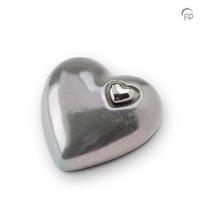 Hart urn grijs metallic, 3 maten-KU053