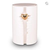 """Urn """"Het eeuwige licht"""", wit met hartje-KU101L"""