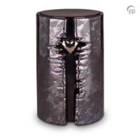 """Urn """"Het eeuwige licht"""", zwart olie-effect met hartje-KU102L"""