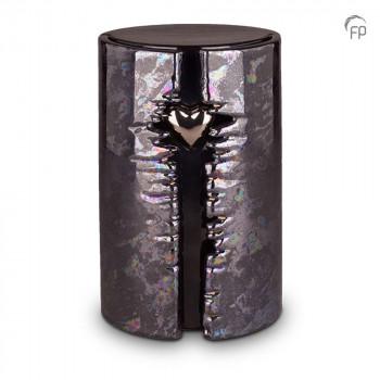 keramische-urn-groot-zwart-olie-effect-glanzend-ovaal-hoog-zilverkleurig-hart-led-licht-mastaba_ku-102l_fp-funeral-products_memento-aan-jou