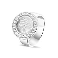 Vingerafdrukring met zirkonia/diamant rand-410