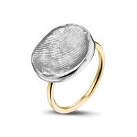 Vingerafdrukring in zilver en geelgoud-407