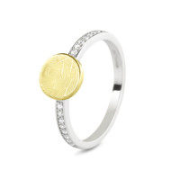 Ring, vingerafdruk of initiaal op disc, bicolor, ronde vorm-458