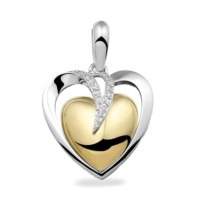 Ashanger, dubbel hart,20mm met accenten, sluitschroef-110