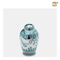 Mini-urn Flying Dove, zilverkleur, duiven gravering, groen