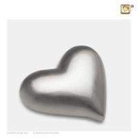 Hart-urn volle vorm, zilverkleur mat/glans