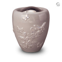 Keramische urn met vlinders