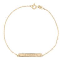 Bar armband persoonlijk gravure in 14kt goud, Just Franky