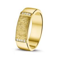 """Vingerafdrukring, zilver/zirkonia, goud/diamant """"Gold Line"""""""