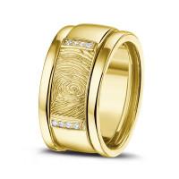 """Vingerafdrukring, zilver/zirkonia, goud/diamant, siders """"Gold Line"""""""